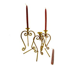 S/3 Gold Finial Candleholder & Red Beaded Candles for Sale in Dacula, GA
