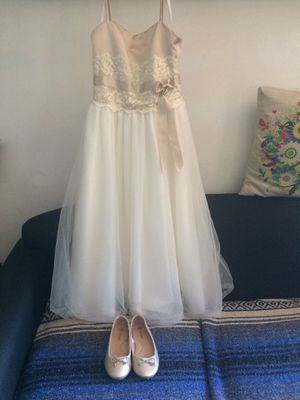 Girls flower girl gown and dress shoes for Sale in Dundalk, MD