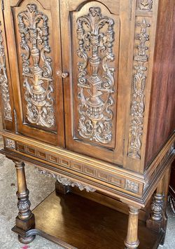 Antique Ornate Tall Walnut Cabinet for Sale in Wantagh,  NY