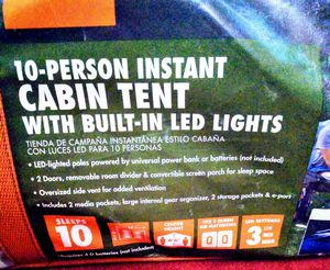 10 Person Instant Cabin Tent was built in LED lights for Sale in Roanoke, VA