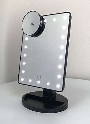 "$15 each New 11x6.5"" LED Vanity Makeup Mirorr Touch Screen Dimming w/ 10x Magnifying (Black or White) for Sale in Whittier, CA"