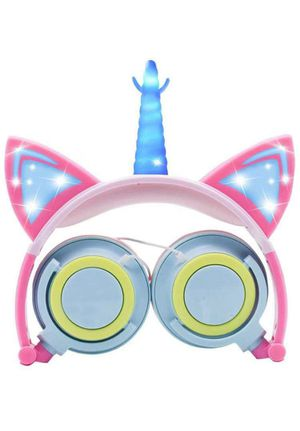 Unicorn Kids Headphones Cat Ear Headphones with Glowing LED Headset,Stereo,Foldable,Volume Limiting 85db for Sale in Rancho Cucamonga, CA