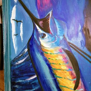 Sailfish On Epoxy Art Patio Outdoors Fishing for Sale in Pompano Beach, FL
