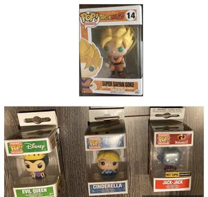 New Funko POP Anime Dragonball Z Super Saiyan Goku Vinyl Figure, Evil Queen, Cinderella, Jack Jack for Sale in Puyallup, WA
