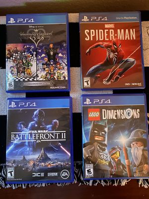Kingdom Hearts HD 1.5 and 2.5 Remix, Marvel Spider-Man, Star Wars Battlefront 2, Lego Dimensions for Sale in Vancouver, WA