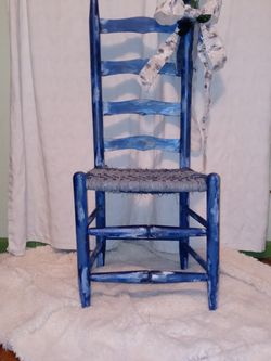 Denim Daze Repainted 1800s Ladder Back Chair With Blue Jeans Woven Seat for Sale in Corydon,  KY
