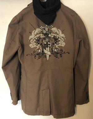 EXPRESS MENS Khaki Blazer Jacket Hoodie w/ Fleur De Lis Crest on Back Sz Medium for Sale in Austin, TX