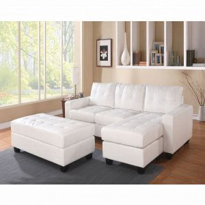 Brand new Lyssa White Small leather sectional sofa with ottoman