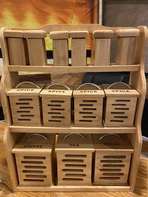 Spice rack and storage containers. Made from real wood for Sale in Norton, MA