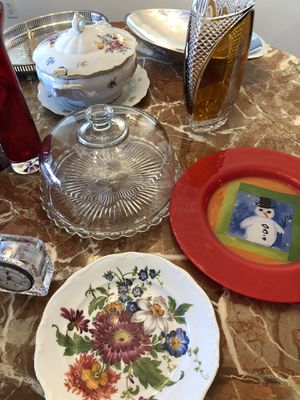 Antique Silver trays, $10 each. 12 burgundy glasses, antique clock made on West Germany for Sale in Oakland Park, FL