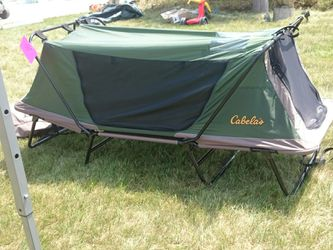 Tent cot w storm shield and air mattress for Sale in Burlington,  WI
