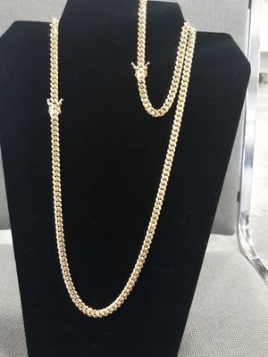 $280.....6mm 10k Official Look Gold Bonded Cuban link Chain and Bracelet.... (Heavy) Made from 925 silver....It will not fade or tarnish! for Sale in Fort Lauderdale, FL