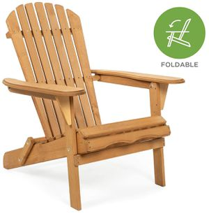 Folding Wooden Adirondack Lounger Chair Accent Furniture w/Natural Finish, Brown for Sale in Detroit, MI