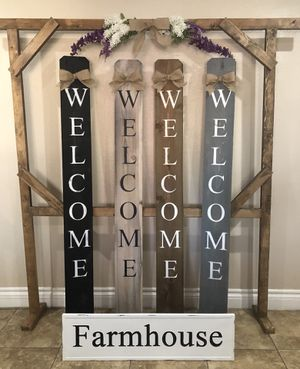 Farmhouse Home Decor - Welcome Signs $25.00 / Blanket Ladders $35.00 for Sale in Ontario, CA