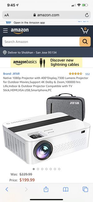 Native 1080P 7300 Lumens amazing projector for Sale in San Jose, CA