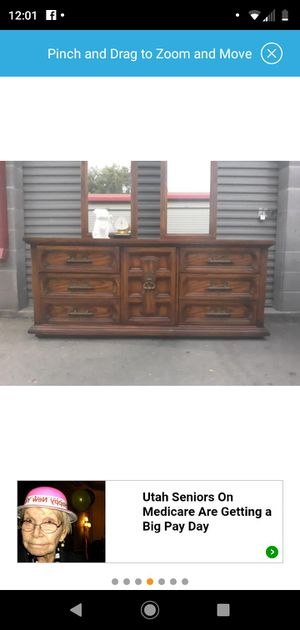 Awesome solid wood 9 drawer retro dresser for Sale in Salt Lake City, UT
