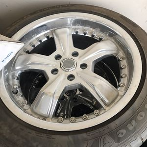 Chrome mustang rims with Firestone tires for Sale in Grand Junction, CO