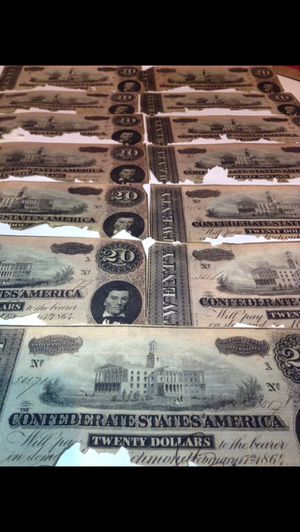 VALUABLE $260 Face Value in 1864 Civil War Confederate Currency $20 Bills— Huge Valuable Collection of 13 Bills- Bold Strong Details/ Ripped Bills for Sale in Fairfax, VA