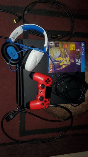Playstation 4 Pro, Red controller, High speed HDMI cord NBA 2K21 Mamba Forever Edition and Turtle Beach headset. for Sale in Hacienda Heights, CA