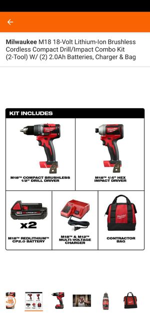 Milwaukee M18 18-Volt Lithium-Ion Brushless Cordless Compact Drill/Impact Combo Kit (2-Tool) W/ (2) 2.0Ah Batteries, Charger & Bag for Sale in Frederick, MD