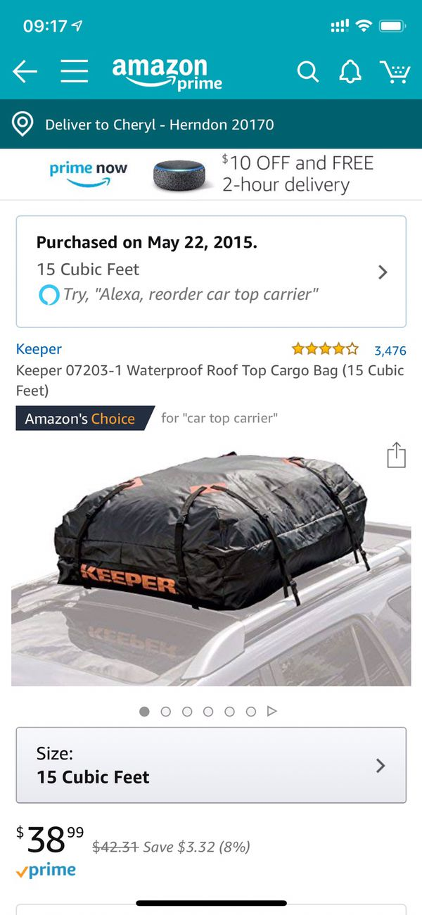 Waterproof roof top cargo bag (15 cubit feet) only used 1 time. $25