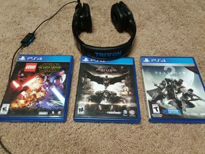 Ps4 games and triton headset for Sale in Danville, PA
