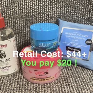 Skincare Set Of Moisturizer, Exfoliant, Toner And Wipes for Sale in Chicago, IL