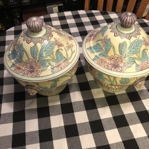 2 Chinese Ceramic Pots , Yellow With Pink/purple Flowers And Designs for Sale in Dallas, TX