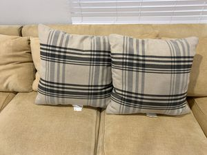 Two extra large identical neutral plaids throw pillows for Sale in Long Beach, CA