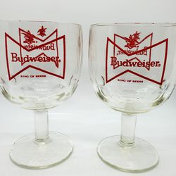 Two (2) Vintage Budweiser thumbprint goblet beer glasses for Sale in Indian Head,  MD