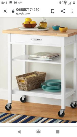 White with butcher block top multifunction cart for Sale in Virginia Beach, VA