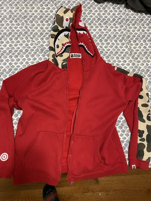 Bape red and camo shark hoodie/ size small for Sale in Springfield, VA