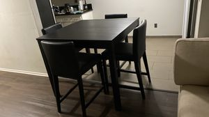 High table, 4 high chair black wood. for Sale in Los Angeles, CA