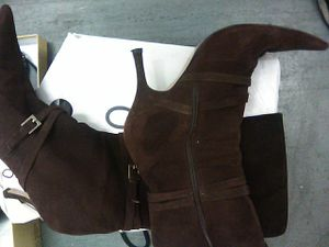 Aldo over the calf brown swead boots for Sale in Las Vegas, NV