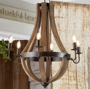 Vineyard wooden rustic chandelier new in box for Sale in Roseville, CA