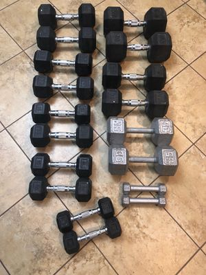 Rubber Hex Dumb Bell Set for Sale in Los Angeles, CA