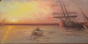 Greek artist L. Alexis painting oil on canvas for Sale in Lakeland, FL