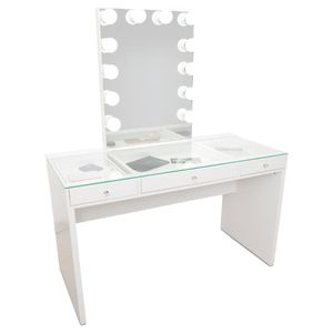 ALL WHITE MAKEUP VANITY WITH LIGHT UP MIRROR for Sale in Chino, CA