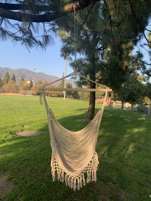 Hanging Hammock Chair Macrame Swing White for Indoor Bedroom Outdoor Patio Porch Deck Garden Yard Reading Leisure Lounging-Max Capacity 320 Lbs for Sale in Etiwanda, CA
