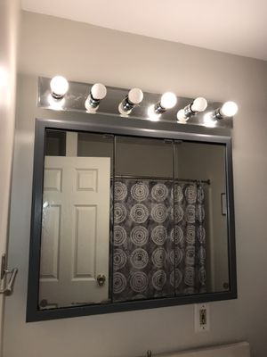Bathroom 3 door mirrored cabinet and light fixture for Sale in Lancaster, PA