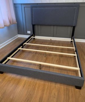Grey Queen Bed Frame with Mattress Set!!Brand New Free Delivery for Sale in Chicago, IL