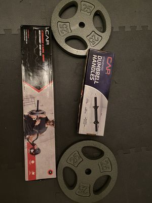 Set of adjustable dumbbells, curl bar and 40 lb in plates of 1 inch hole, new in box for Sale in Lexington, KY