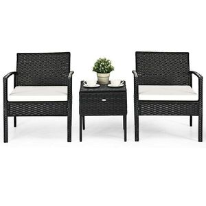 3 pcs outdoor Black/White/Orange rattan wicker furniture set 2 chairs 1 coffee table swimming pool side backyard patio porch for Sale in New York, NY