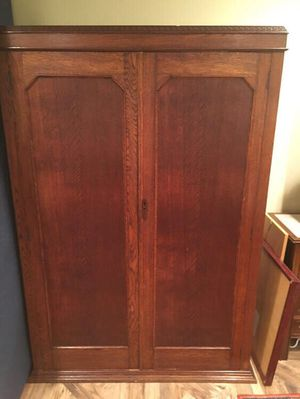 Antique British Oak Armoire w/Brass Fittings and mirror for Sale in Alexandria, VA