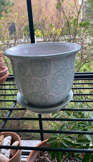 Flower blue detailed design flower pot garden for Sale in Newport News, VA