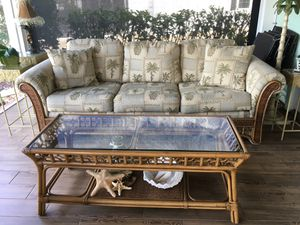 Tommy Bahama couch and matching coffee table and end table for Sale in Fort Ogden, FL