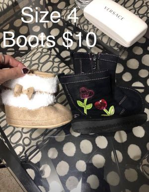 Baby girl size 4 boots both for $10 for Sale in Pleasant Hill, IA