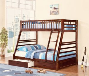 Twin over Full Bunk Bed with 2 Drawers , Cherry Color, SKU 7588-CH for Sale in Santa Ana, CA