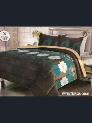 Brand New Modern Grey Turquoise Floral Beige Super Soft Thick Warm Borrego Sherpa 3 Piece Bed Blanket Set King Size for Sale in Los Angeles, CA
