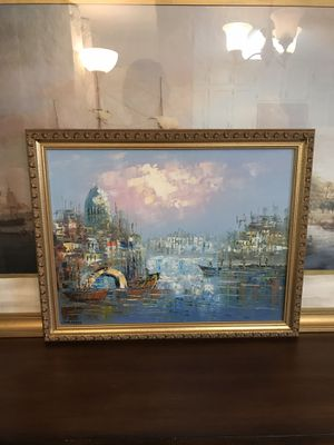 """✨AVAILABLE✨ Vintage, oil paintings of a Paris street scene and a Venice canal scene, 15""""x18.5"""". Signed by artist for Sale in Norcross, GA"""